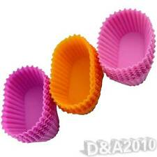 10Pcs in 1 Oval Silicone Jelly Pudding Puff Muffin Cup Cake Baking Mold Moulds