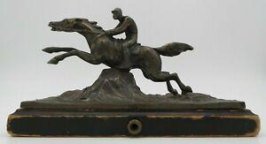 GREAT ANTIQUE EUROPEAN BRONZE TABLE PUSH BELL RINGER - JOCKEY ON HORSE