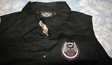Black Sleeveless Harley Davidson 105th Anniversary Button Blouse