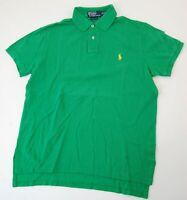 Ralph Lauren Piquè Poloshirt Polohemd Herren Gr.M grün uni Knopf -S828