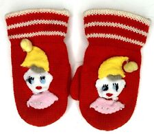 Vintage 1950s Baby Toddler Knit Mittens Christmas Appliqué Red Elf Handmade