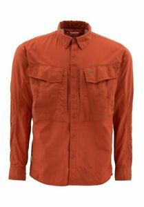 Simms Guide Long Sleeve Shirt Terracotta, Size Large ~ Closeout