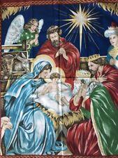 "Cranston Village Fabric Christmas Nativity Scene Panel 41"" x 33"""