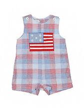 Baby Boy Petit Ami Patriotic Flag Red White Blu e Shortall Jon John Size 9 Month