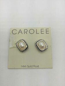 NWT Carolee Faux Pearl 14K Gold Post Earrings
