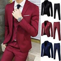 Mens Slim Suits Groom Best Wedding Dress 3 PCS Formal Business Dress Pant Coat