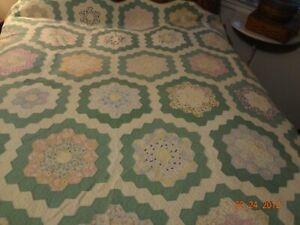 "Antique Primitive Grandmother's Flower Garden Quilt/72"" x 64""/So Sweet/Stacker/C"