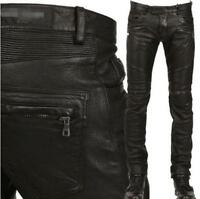 New Mens Leather Punk Rock Motorcycle Slim Pant Military Skinny Trousers Pants