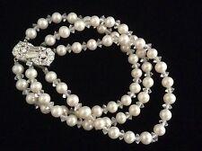 Beautiful Vintage Triple Strand Faux Pearl Crystal Rhinestone Bracelet Marvella