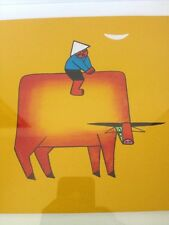 Modern Asian Vietnamese Boy Cow Buffalo Colorful Drawing Painting Hao Framed Art