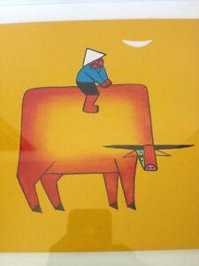 Modern Asian Vietnamese Boy Cow Buffalo Colorful Drawing Painting Hao Framed Art