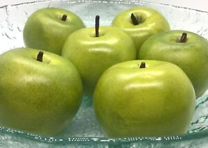 Green Apples Lot of 6 Granny Smith Artificial Lifelike Plastic Home Decor Fake