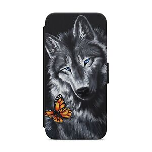 Black Wolf Butterfly WALLET FLIP PHONE CASE COVER FOR IPHONE SAMSUNG HUAWEI  z07