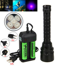 Underwater 100M 395nm 5x UV Light LED Diving Flashlight Scuba Torch Lamp 2X18650