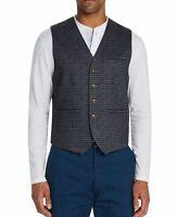 Tallia Mens Suit Vest Gray Blue Size Medium M Button Front Gingham Knit $78 137