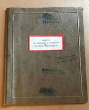 1945 Patent REPORT DEVELOPMENT of STOPWATCH by smith-mekker engineering, SECRET