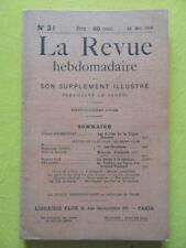 La Revue Hebdomadaire 1913 n° 21 la pêche à la sardine Péladan Triple Entente