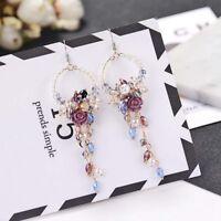 Frauen Ohrringe Kristall Perlen Blumen baumeln Quaste Ohrringe Schmuck Zubehör.