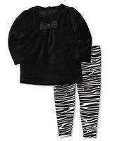 NEW Carter's Girls' 2-Piece Black Velour Shirt & Zebra Print Stretch Pants Set