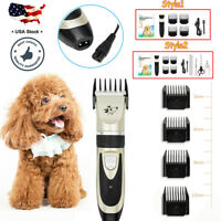 US Pet Cat Dog Hair Clipper Trimmer Kit Shaver Cordless Grooming Set Low Noise