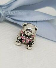 "Authentic Pandora Charm ""Baby Girl"" Pink Enamel Bow Teddy Bear - 791124"