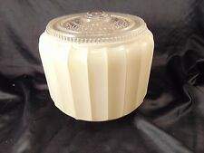 "Ceiling light fixture white glass shade vintage 1940's style 8"" high 3"" opening"
