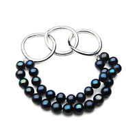 New 8mm Genuine Black Freshwater Pearl Bracelet Pacific Pearls® Gifts For Sister