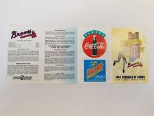 Atlanta Braves 1994 MLB Baseball Pocket Schedule - Coca Cola/Powerade