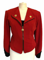 Joseph Ribkoff Petite Short Red Zip Up  Jacket With Gold Tone Buttons Size 14