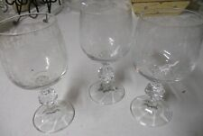 "Set of 3 Bohemia Claudia Cascade Bell Etched 5 1/4"" Wine Ball Cut"