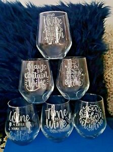 Etched Stemless Wine Glass, 12 oz,  - printed with funny quotes