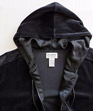 NYL WEAR NEW YORK LAUNDRY Hooded Hoodie Jacket Black Velour Velvet Zip Sz S M
