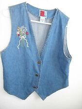 Lovely Blue Denim Western Cowboy Cowgirl VEST Ribbon Flower Embroidery Seed Bead