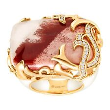 Cristina Sabatini Natural Lace Agate & Vine Ring 14K Gold-Plated Sterling Silver