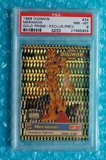 1999 Digimon *MERAMON* #24 Gold Prism Exclusive Preview # Card 009/100 PSA-8