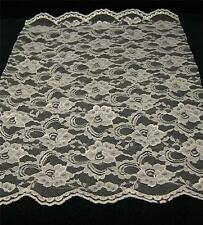 "19"" IVORY DOUBLE SCALLOP Allover LACE - Tablerunner Veils Crafts Costumes NEW"