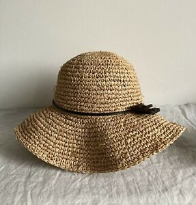 Women's Summer Straw Hat Brown Holiday Floppy Wide Brim - Size M/L