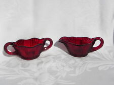 Vintage Ruby Red Glass Creamer and Sugar