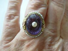 ANTIQUE VICTORIAN 14K YELLOW GOLD CARVED AMETHYST CABOCHON SEED PEARL HALO RING