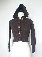 3d3b3fb2c9 GAP Hooded Knit Cardigan Sweater Short Brown Size M (8)