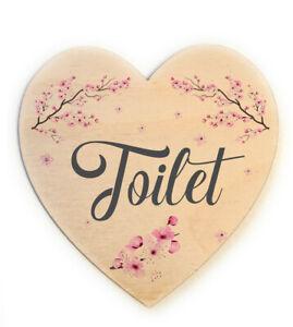 Wooden Heart Shaped Toilet Door Sign Decorative Plaque - Cherry Blossom Design