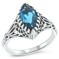 GENUINE LONDON BLUE TOPAZ 925 STERLING SILVER ART DECO ANTIQUE STYLE RING   #714