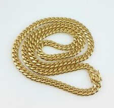 "Men 18K Gold Stainless Steel 30"" 10mm Miami Cuban Curb Link Chain Necklace"