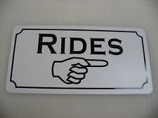 RIDES w/ Arrow Metal Tin Sign Game Room Carnival Fair Boardwalk Amusement Park