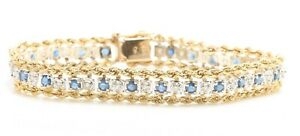 1.50 TCW Natural Blue Sapphire and Diamonds in 14K Solid Yellow Gold Bracelet