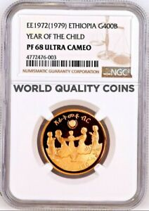 1972/1979 Ethiopia 400 Birr Gold Proof Coin Year of the Child NGC PF68 Low Mint.