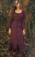 Christy Dawn The Juliet Dress Burgundy Women's Size Small Long Flare Sleeve (B6)