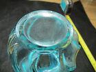Vintage Fenton  Turquoise Swirl Ruffled Edge Crested Opalescent Vase
