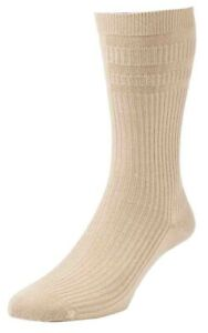 1 Pair Original HJ Halls Soft Top HJ91 Oatmeal Cotton Rich Socks, UK Size 11-13