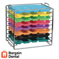 Plasdent Dental Medical Chromed Steel Instrument Tray Rack 8 Position for Size B